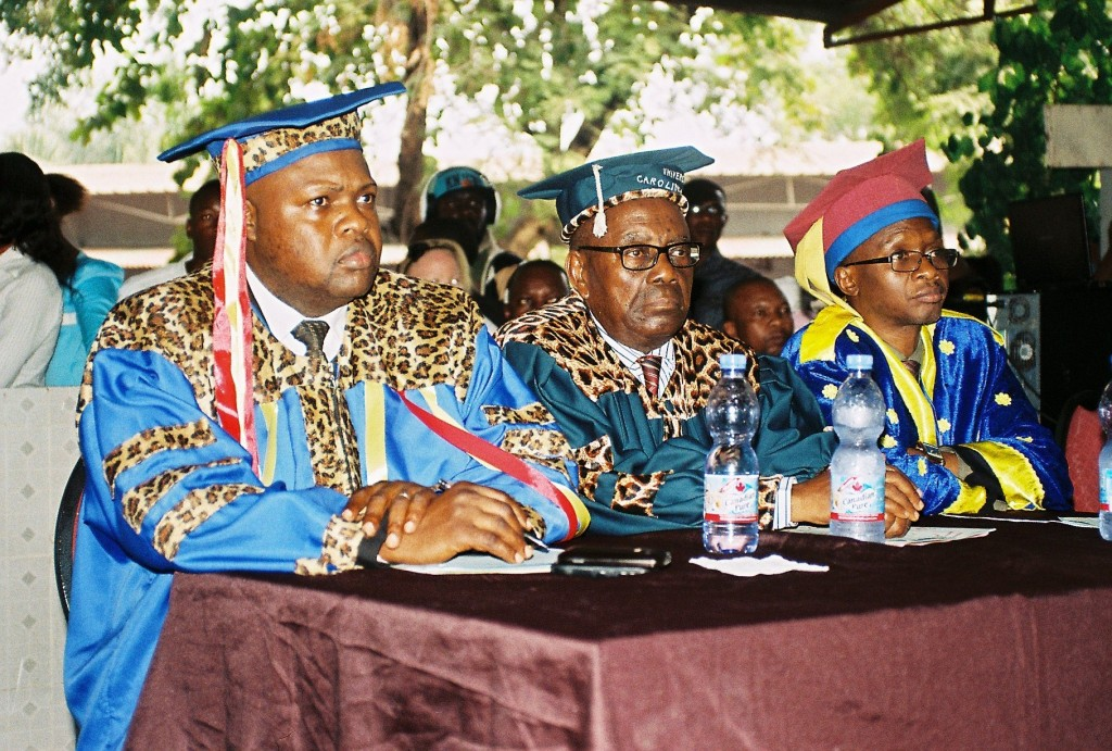 Faculty Deans at a graduation ceremony are from left to right Professors Kabasele, Emomo, and Ntonda